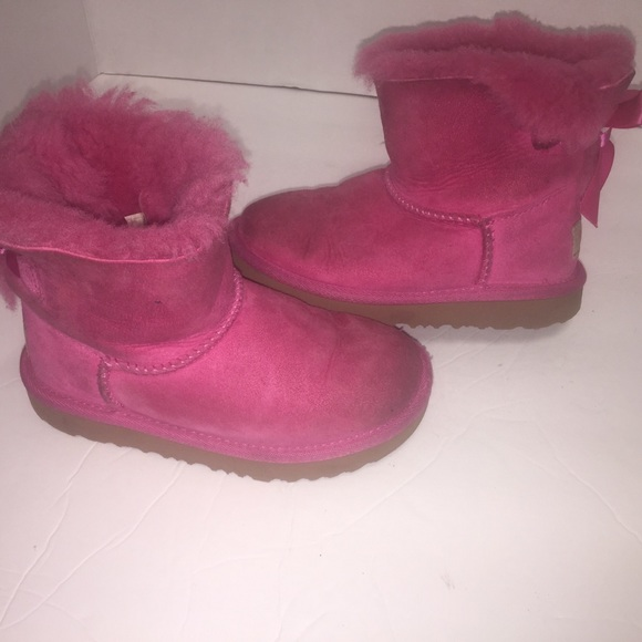 be19825e347 Pink toddler uggs Mini bailey bow boots size 10